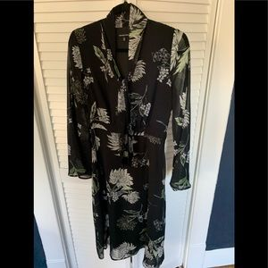 WHO WHAT WEAR Black Floral Long Sleeve Dress - XS